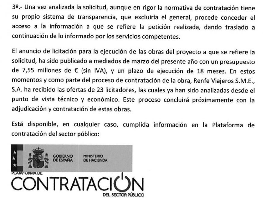 """Torremolinos Torremolinos Fomento contesta a """"Ahora Sí, Torremolinos"""" que se han presentado 23 empresas para ejecutar las obras de La Nogalera a falta de que Renfe adjudique los trabajos"""