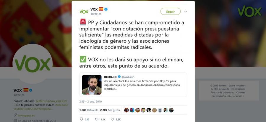 """Andalucía Andalucía Vox alerta en redes negar el apoyo a PP y Ciudadanos si no eliminan """"las medidas dictadas por la ideología de género y las asociaciones feministas podemitas radicales"""""""