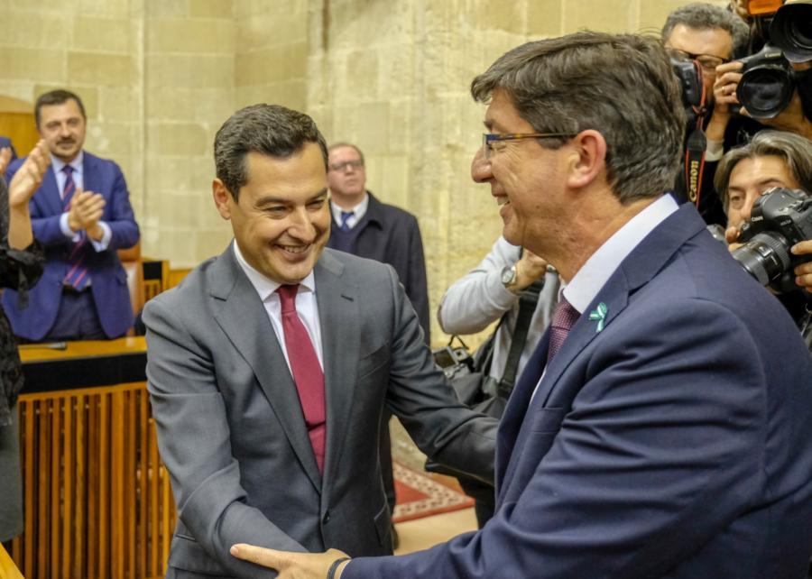 Andalucía Andalucía Juan Manuel Moreno, investido presidente de la Junta de Andalucía con el apoyo de Ciudadanos y Vox
