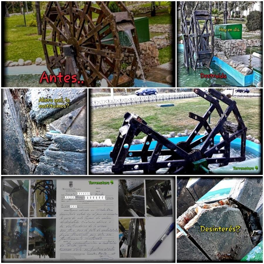 Torremolinos Torremolinos Torrenatura alerta del deterioro que sufre la noria ubicada en el parque junto a la calle Costa Rica sin que el Ayuntamiento haga nada por remediarlo