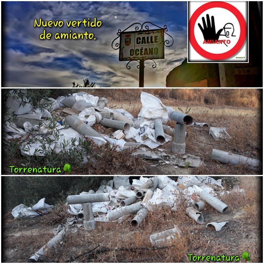 Torremolinos Torremolinos Torrenatura denuncia un nuevo vertido de tuberías de amianto en un olivar junto a la calle Océano de Torremolinos