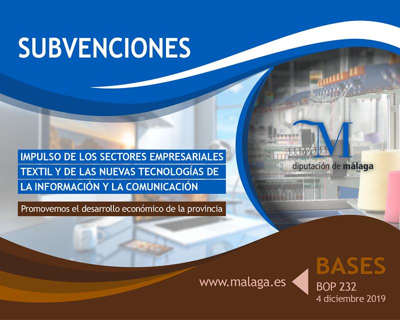 Empleo Empleo La Diputación publica las bases para solicitar ayudas económicas para el impulso de los sectores empresariales textil y de las nuevas tecnologías de la información