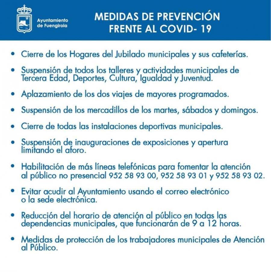 Torremolinos Torremolinos El Ayuntamiento de Torremolinos anuncia las medidas preventivas para luchar contra el coronavirus