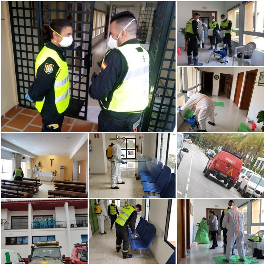 Actualidad Noticias La UME, nuestros héroes militares en primera línea de combate en la lucha contra el Coronavirus, realizan tareas de desinfección en Torremolinos y en pueblos de la Costa del Sol