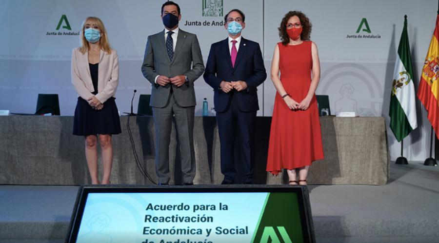 Andalucía Andalucía Moreno sella con los agentes sociales un acuerdo histórico para la reactivación económica y social de Andalucía ante la crisis del Covid-19