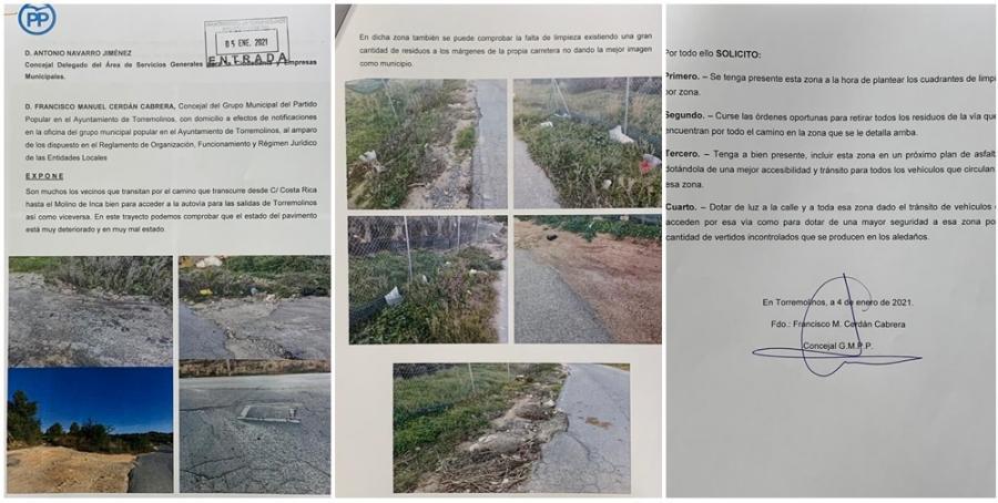Torremolinos Torremolinos El PP de Torremolinos critica el deterioro del camino que va al jardín botánico Molino del Inca, pide el adecentamiento de la vía y un mayor control de los vertederos ilegales en la zona