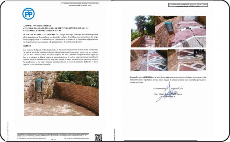 Torremolinos Torremolinos El PP de Torremolinos denuncia el estado de dejadez de las escaleras del cementerio